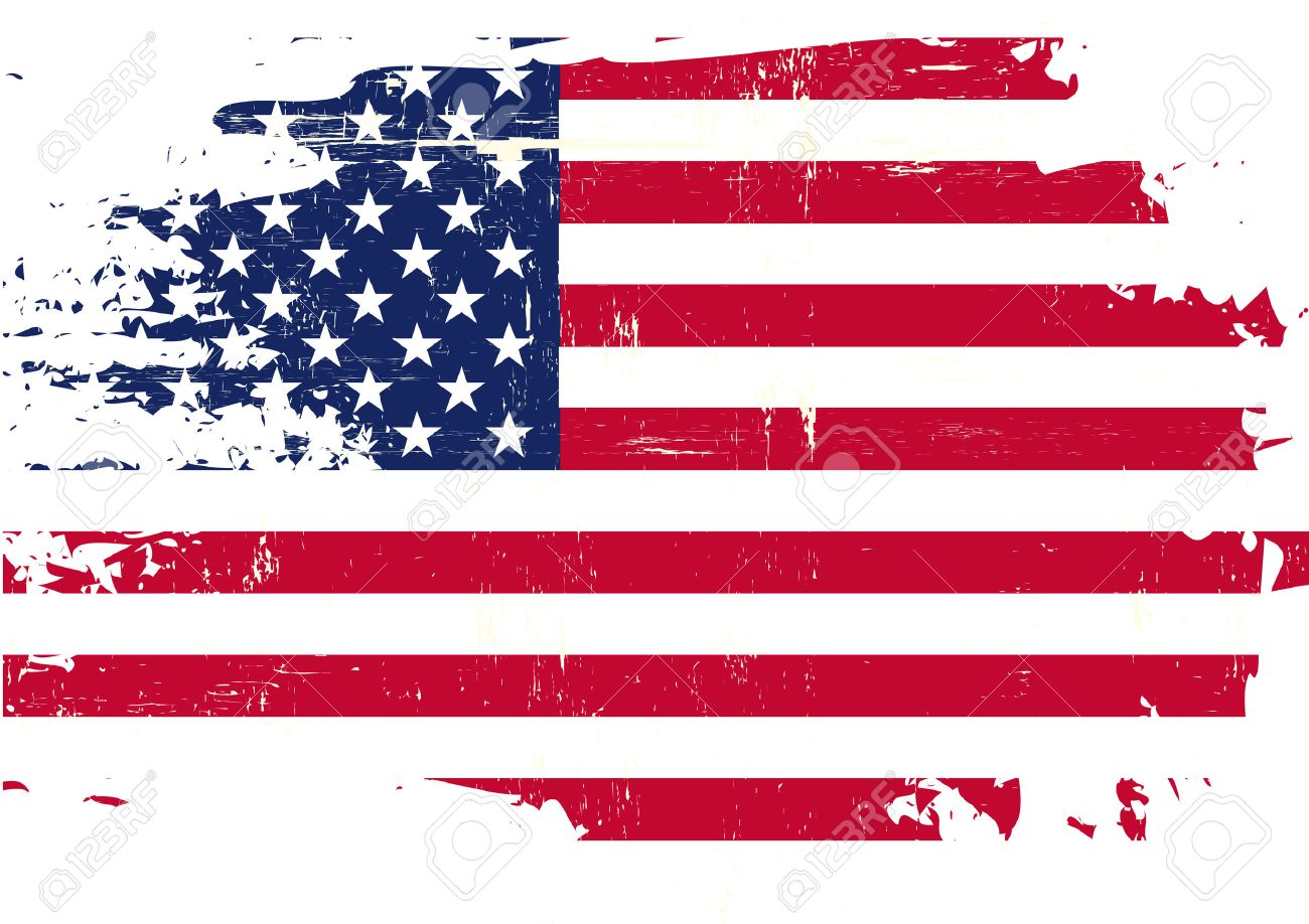 An American Flag With A Grunge Texture Stock Vector