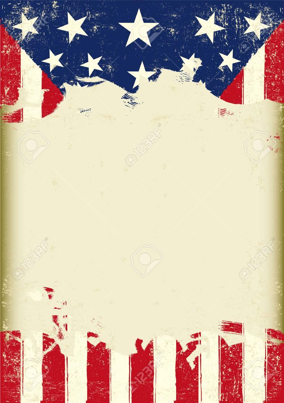 Eine Amerikanische Grunge-Flag Für Sie Mit Einem Großen Rahmen Für ...
