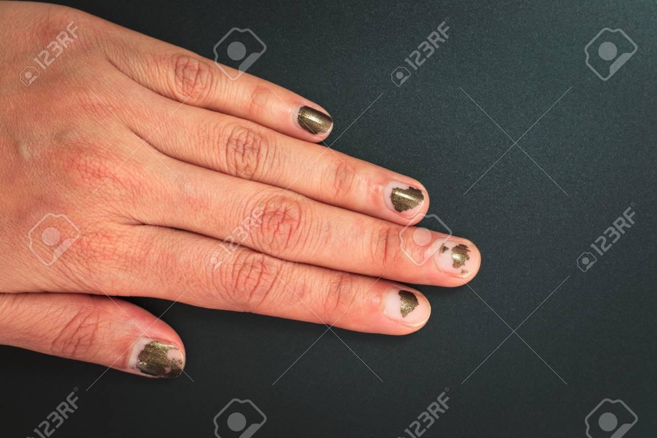 Glitter Dark Color Nails Polish Scratched On Black Background ...
