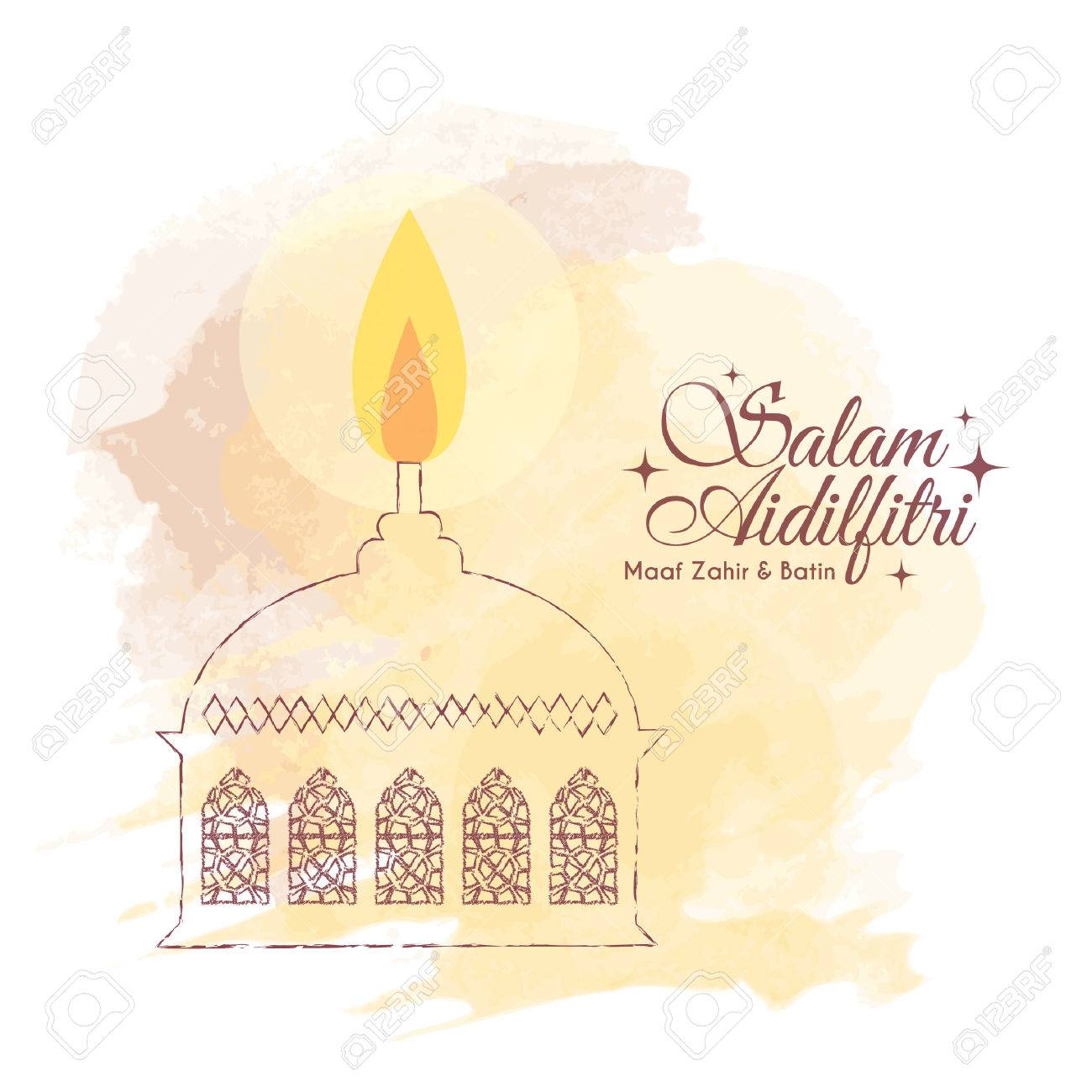 hari raya aidilfitri greeting card template design hand drawn muslim oil lamp pelita