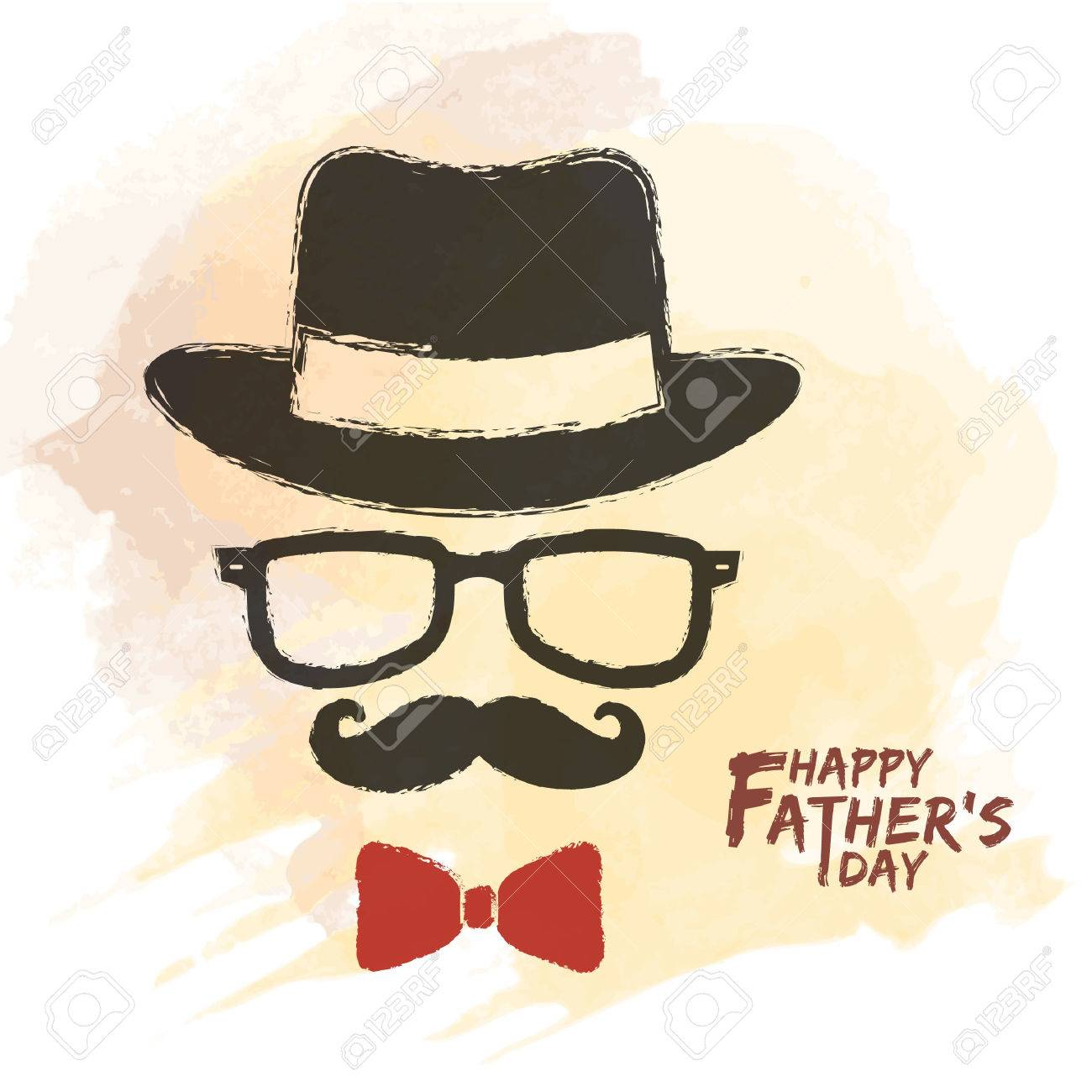 ec0acb658 Happy Father's Day. Men Face In Retro Hipster Style With Hat ...