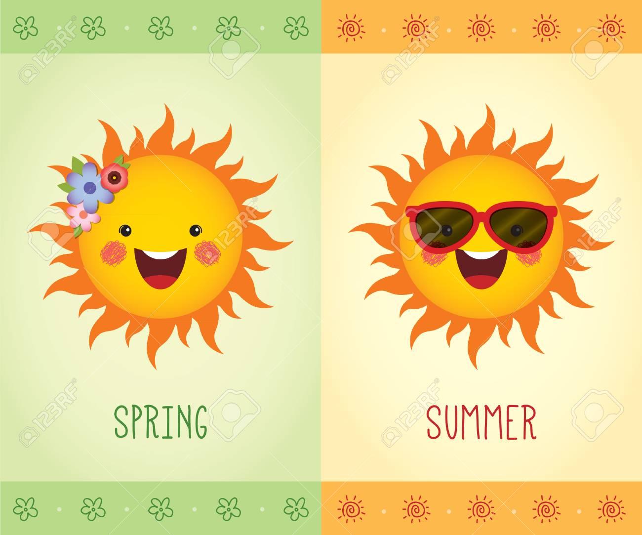 Cute Cartoon Sun Wearing Sunglasses Spring Flowers Spring And