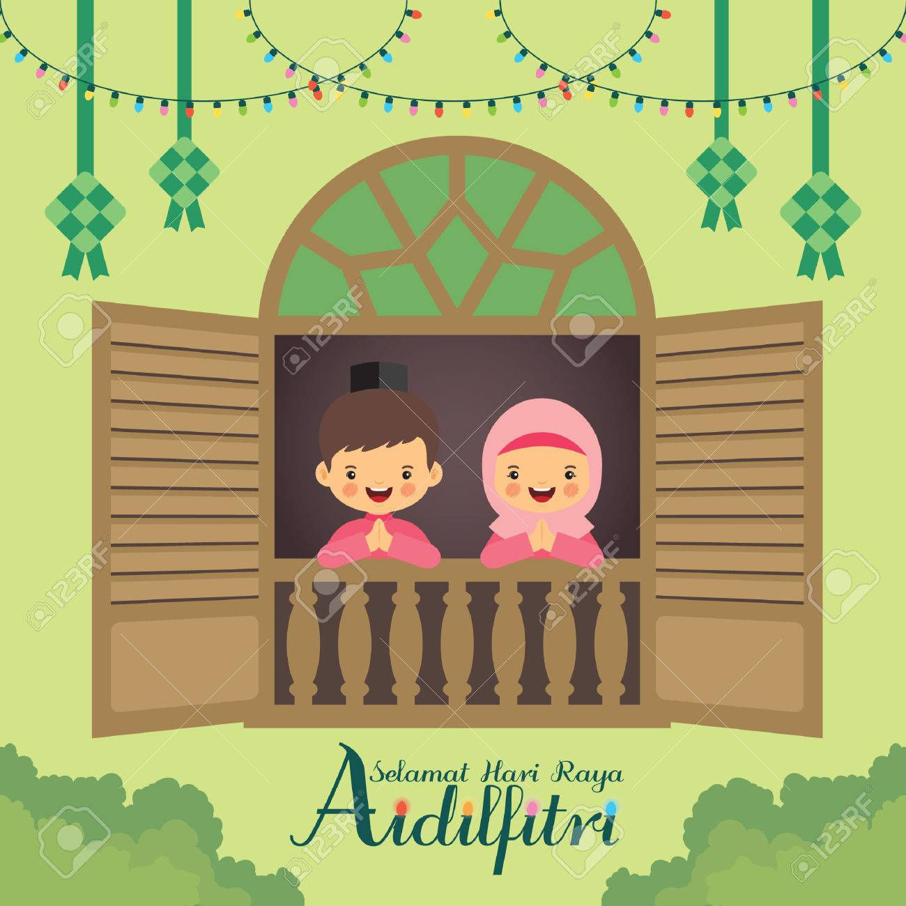 hari raya aidilfitri vector illustration cute muslim boy and girl with traditional malay window frame