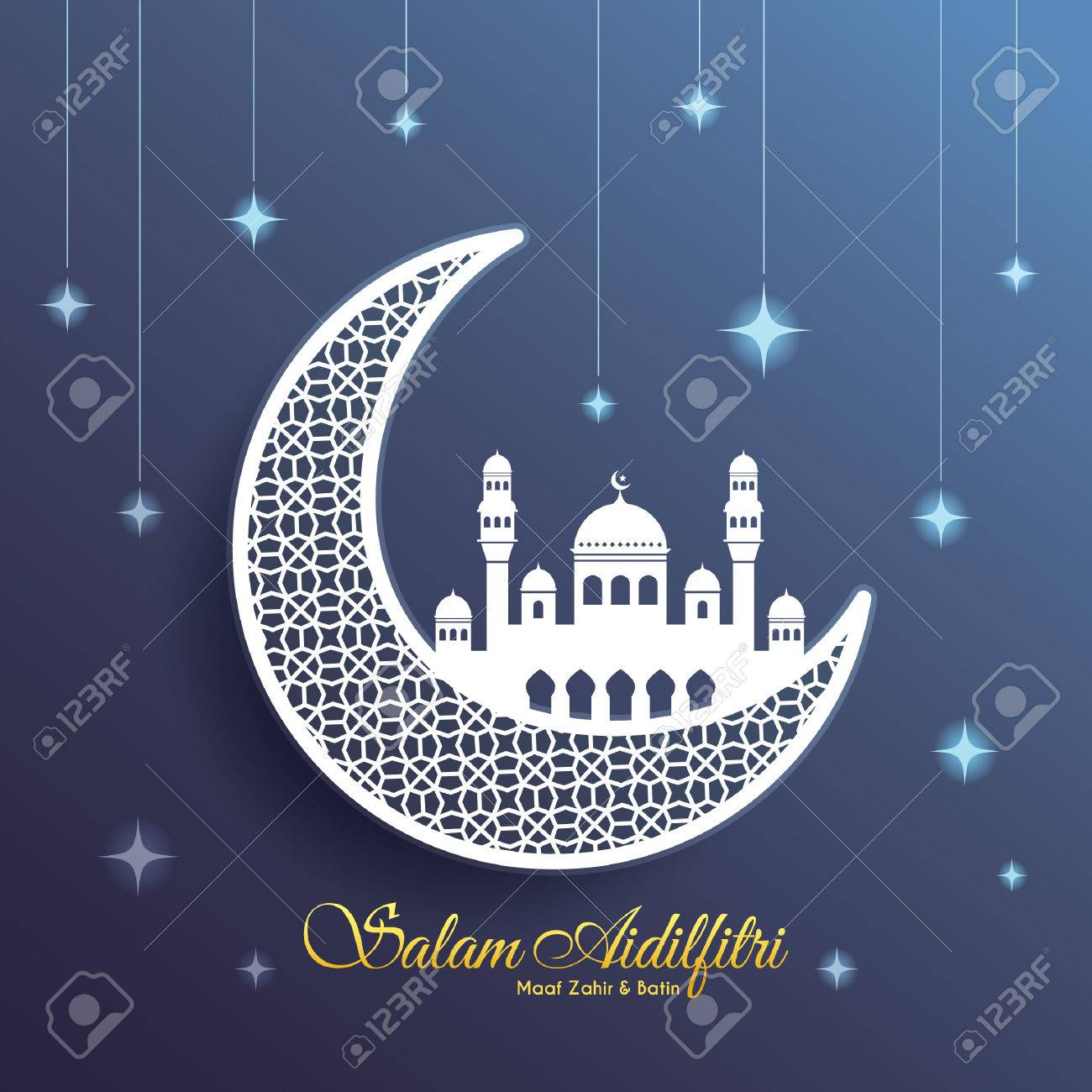 Hari raya greeting card with decorative crescent moon and mosque hari raya greeting card with decorative crescent moon and mosque on starry blue background vector kristyandbryce Image collections