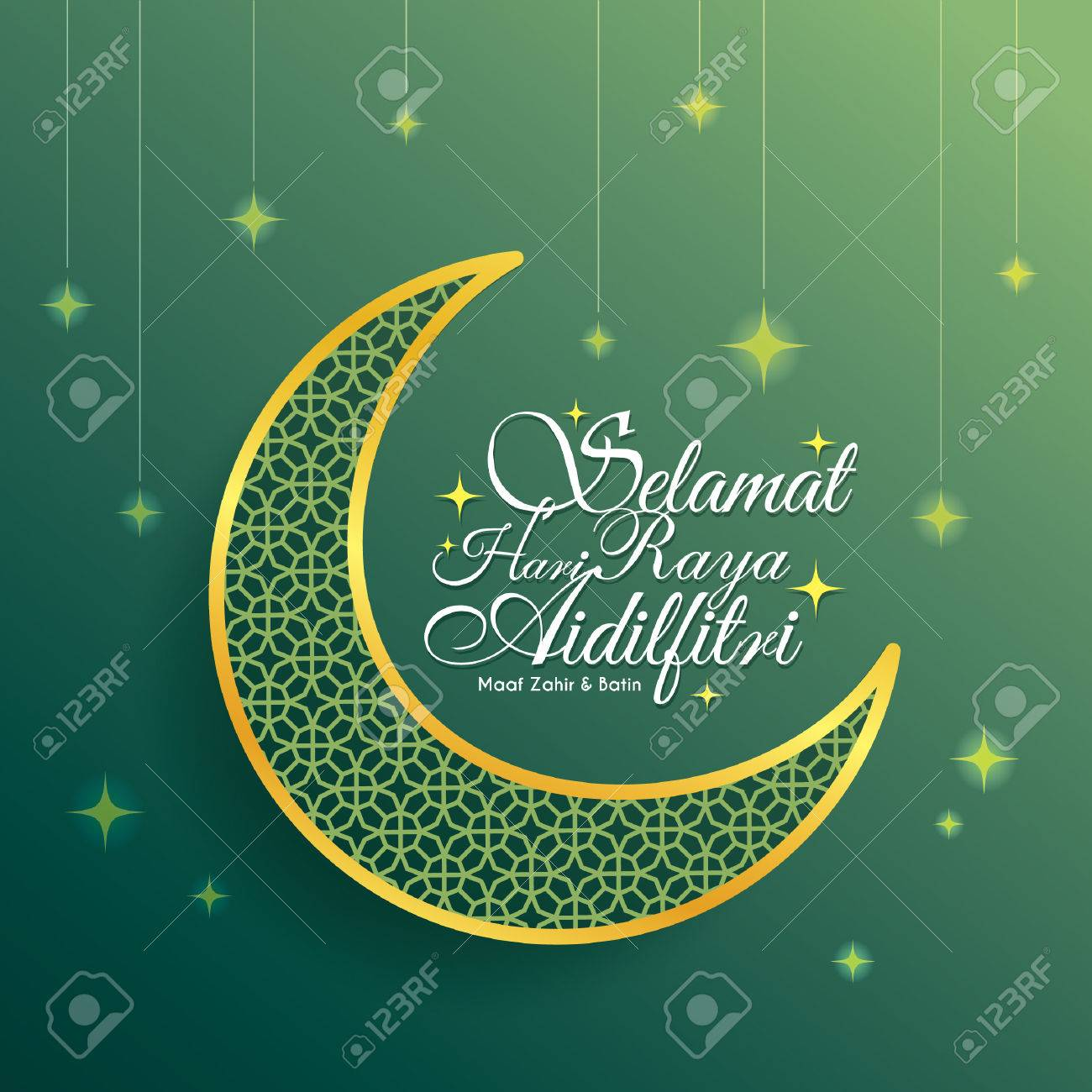 Hari raya greeting card with decorative crescent moon and starry hari raya greeting card with decorative crescent moon and starry green background vector illustration kristyandbryce Image collections