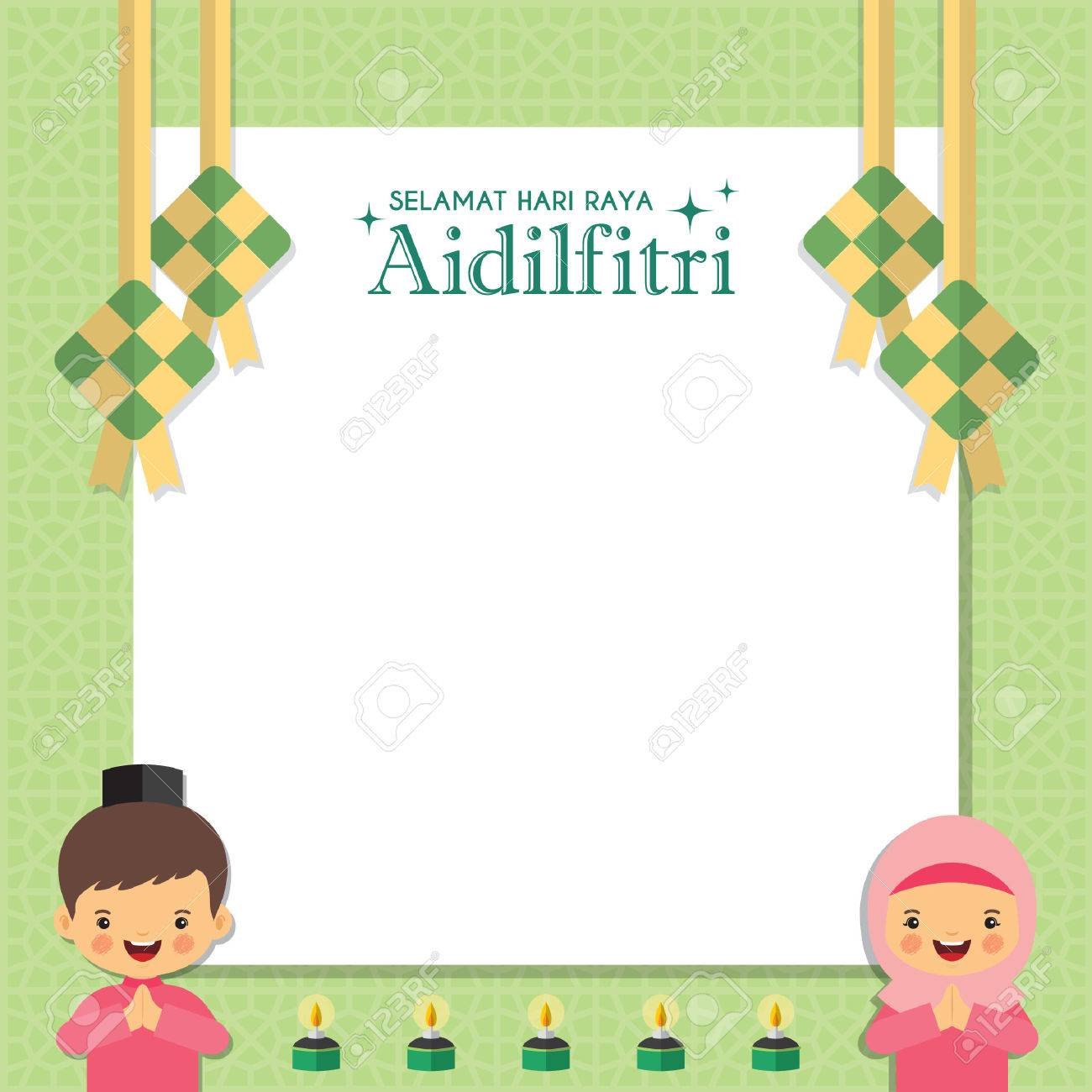 Hari Raya Notepaper Or Message Board With Muslim Kids Ketupat