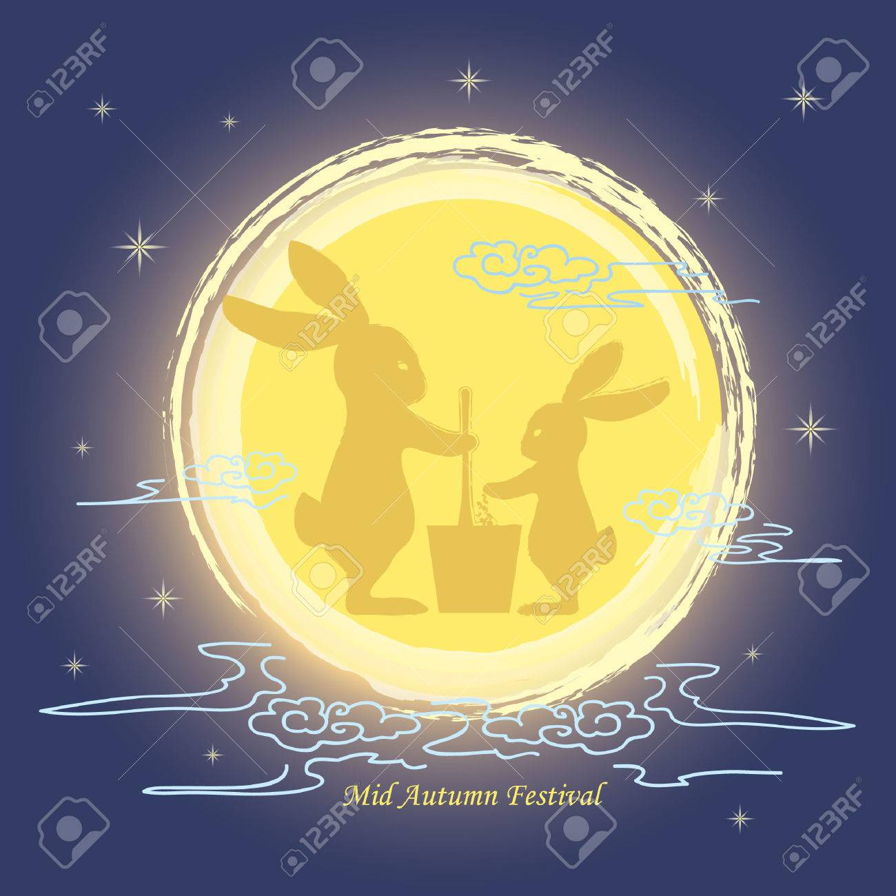 Mid autumn festival greeting with hand drawn full moon and bunny mid autumn festival greeting with hand drawn full moon and bunny silhouette on starry night background m4hsunfo