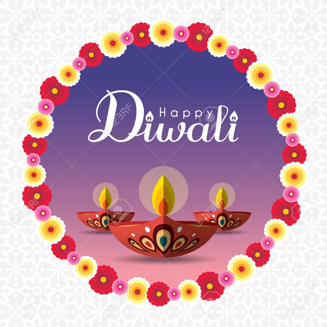 Diwali Or Deepavali Greeting With Beautiful Burning Diwali Diya