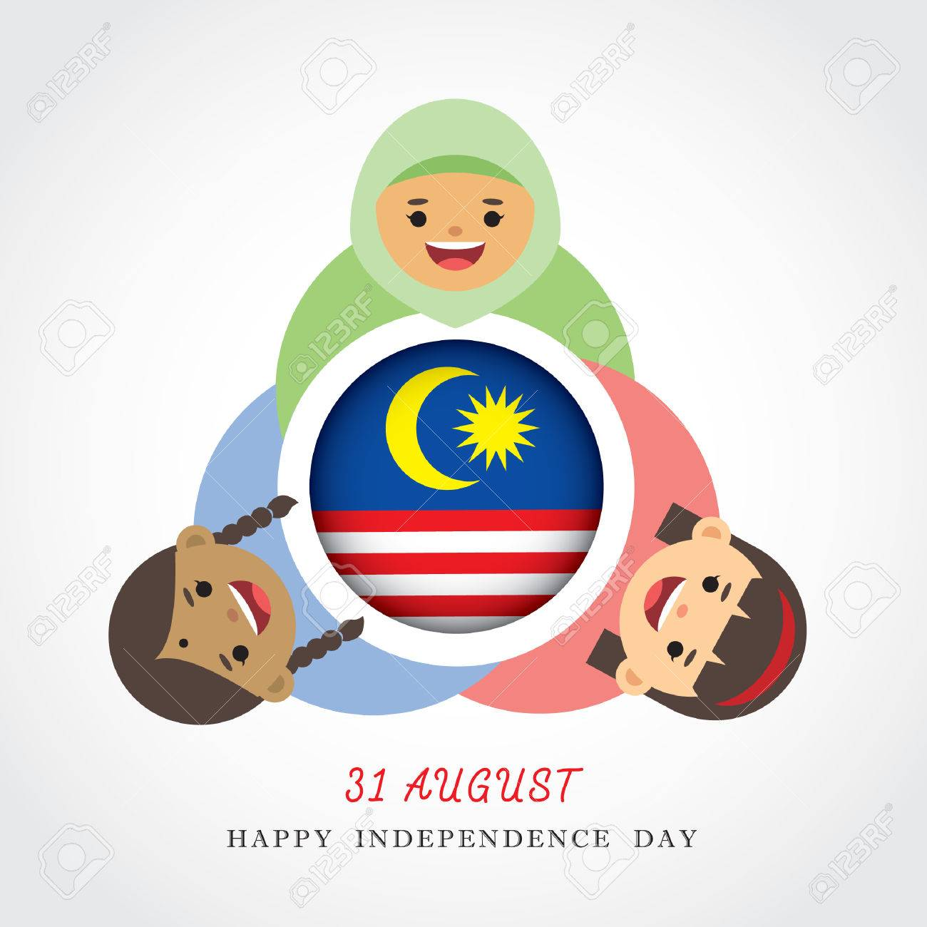 Malaysia National Independence Day Illustration Cute Cartoon