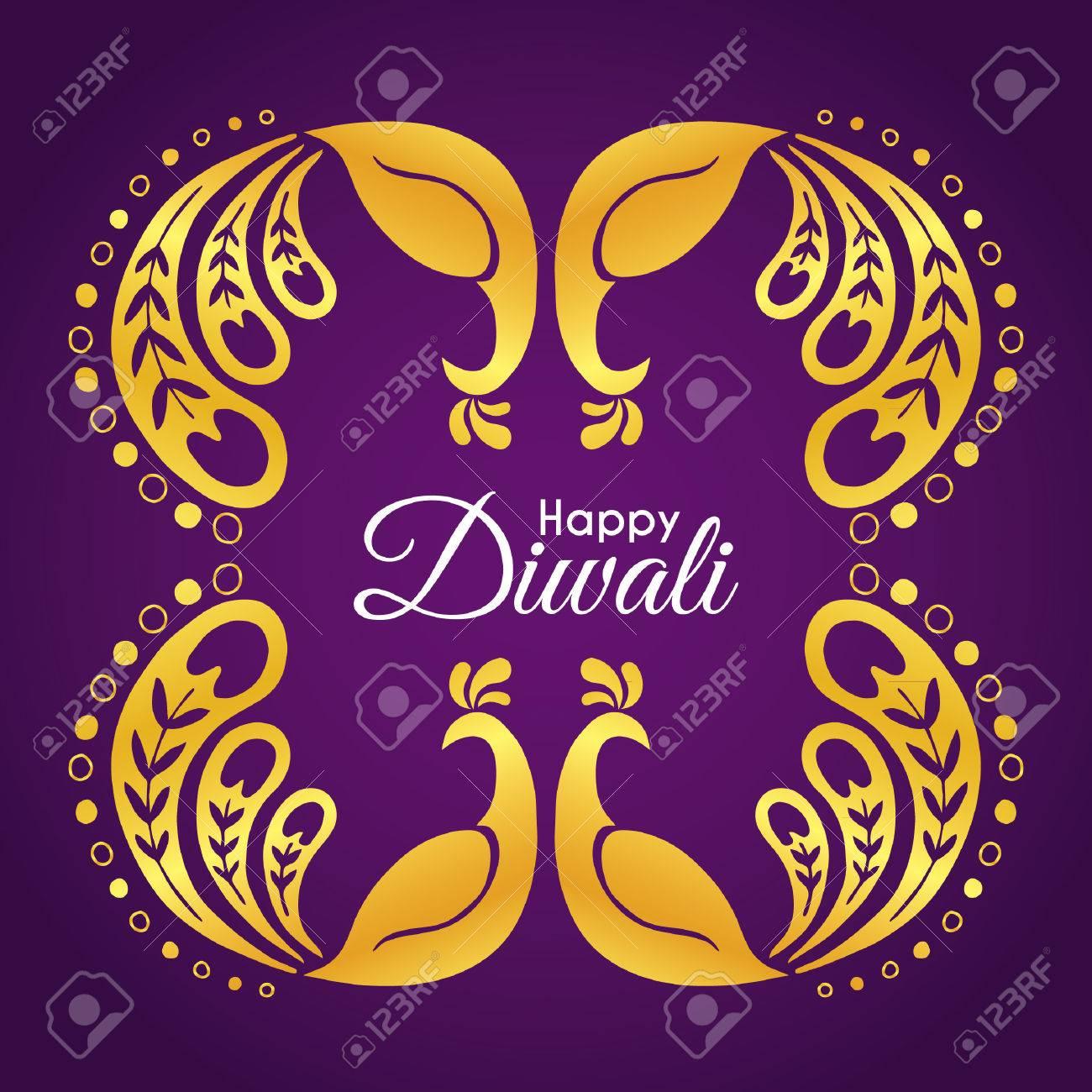Diwali Deepavali Greetings Of Hand Drawn Golden Peacock Abstract