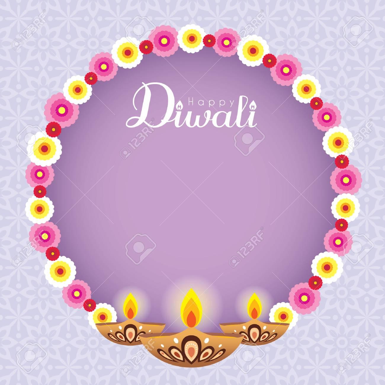 Diwali Or Deepavali Greeting Card With Beautiful Floral Wreath