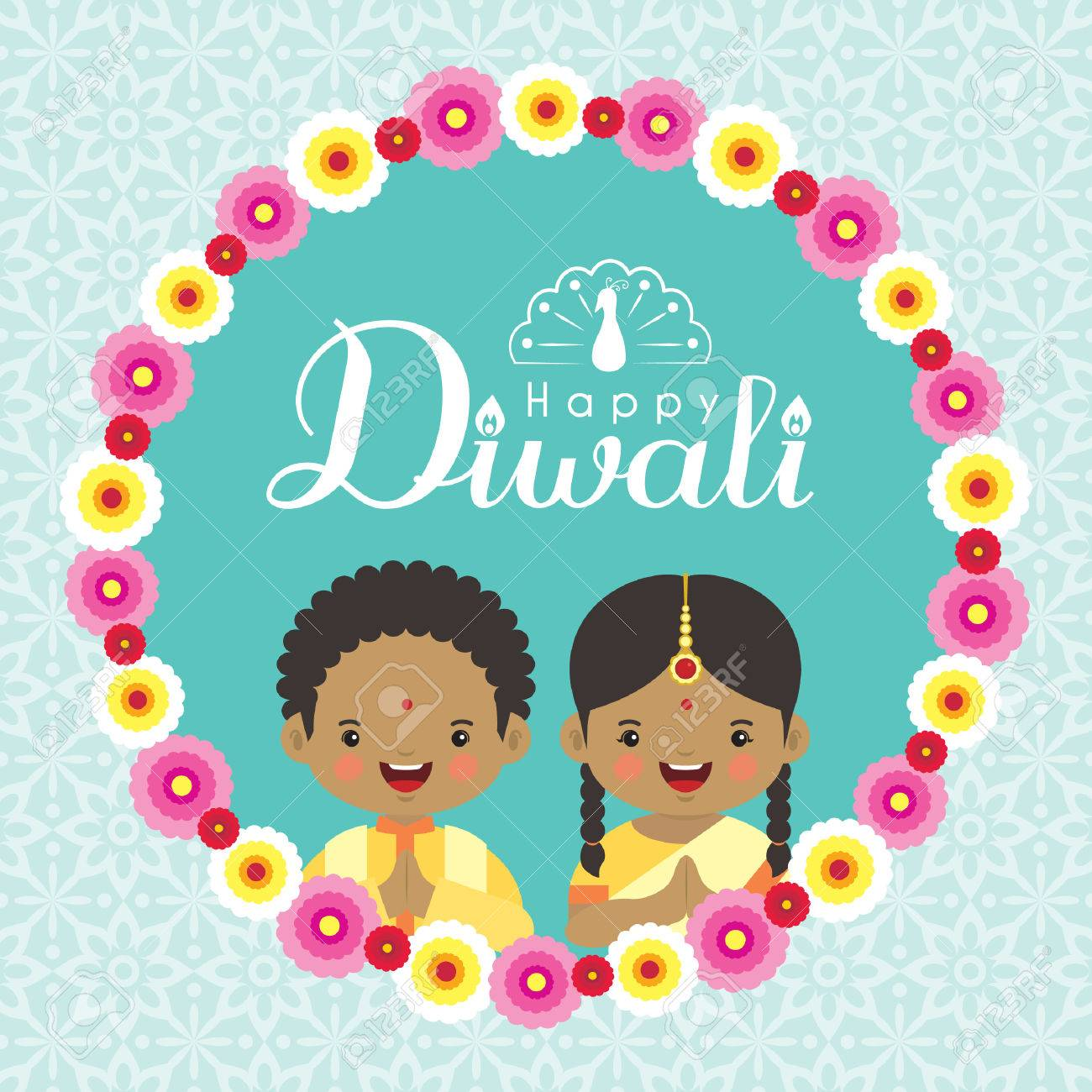 Diwali Or Deepavali Greeting Cardd With Cute India Kids And Floral