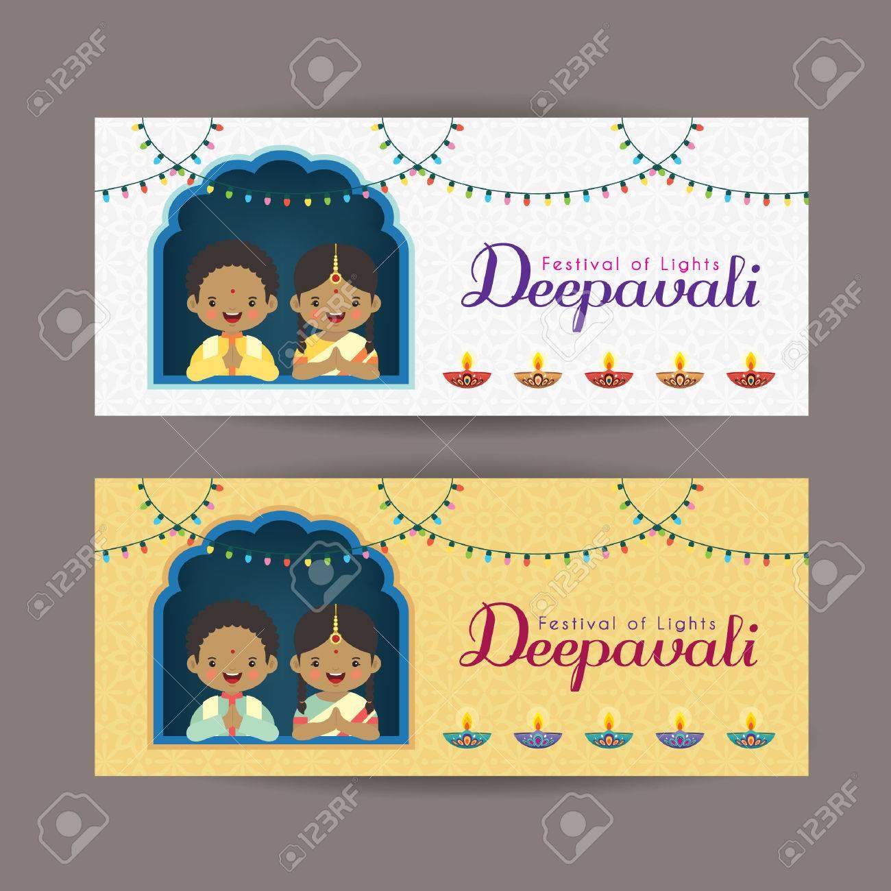 Diwali O Diseño De La Plantilla De La Bandera De Deepavali. Niños ...