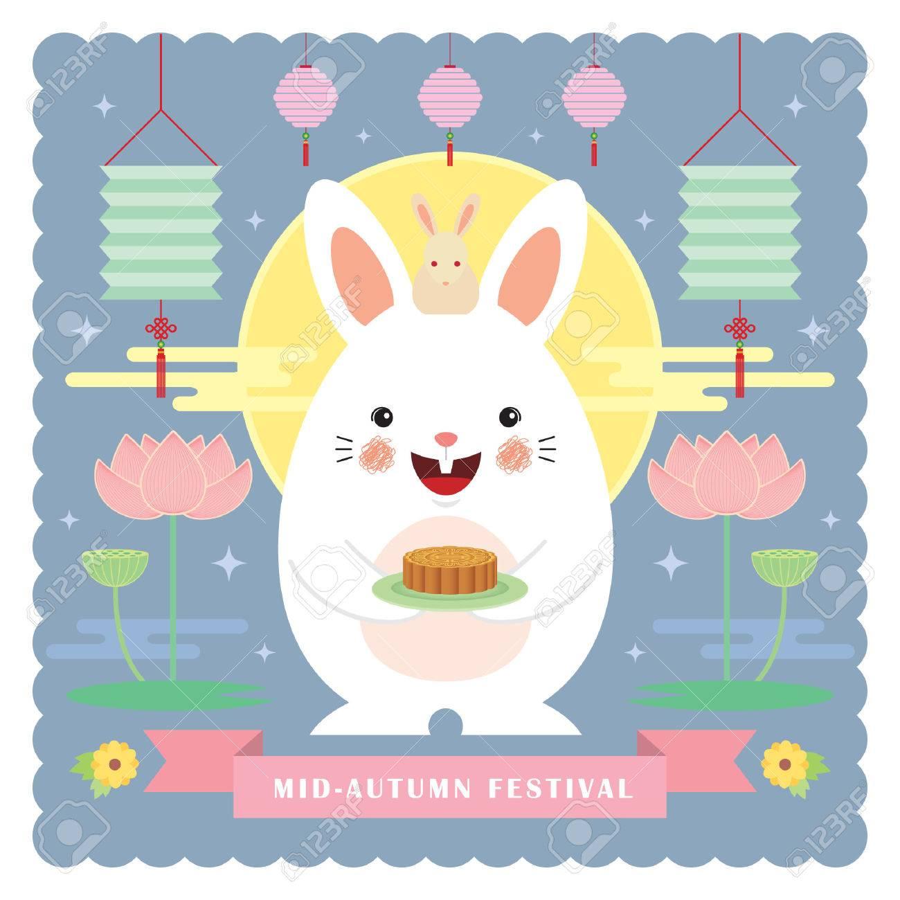 Mid autumn festival greeting card tempalte cute cartoon rabbit mid autumn festival greeting card tempalte cute cartoon rabbit holding mooncake with lanterns lotus kristyandbryce Choice Image
