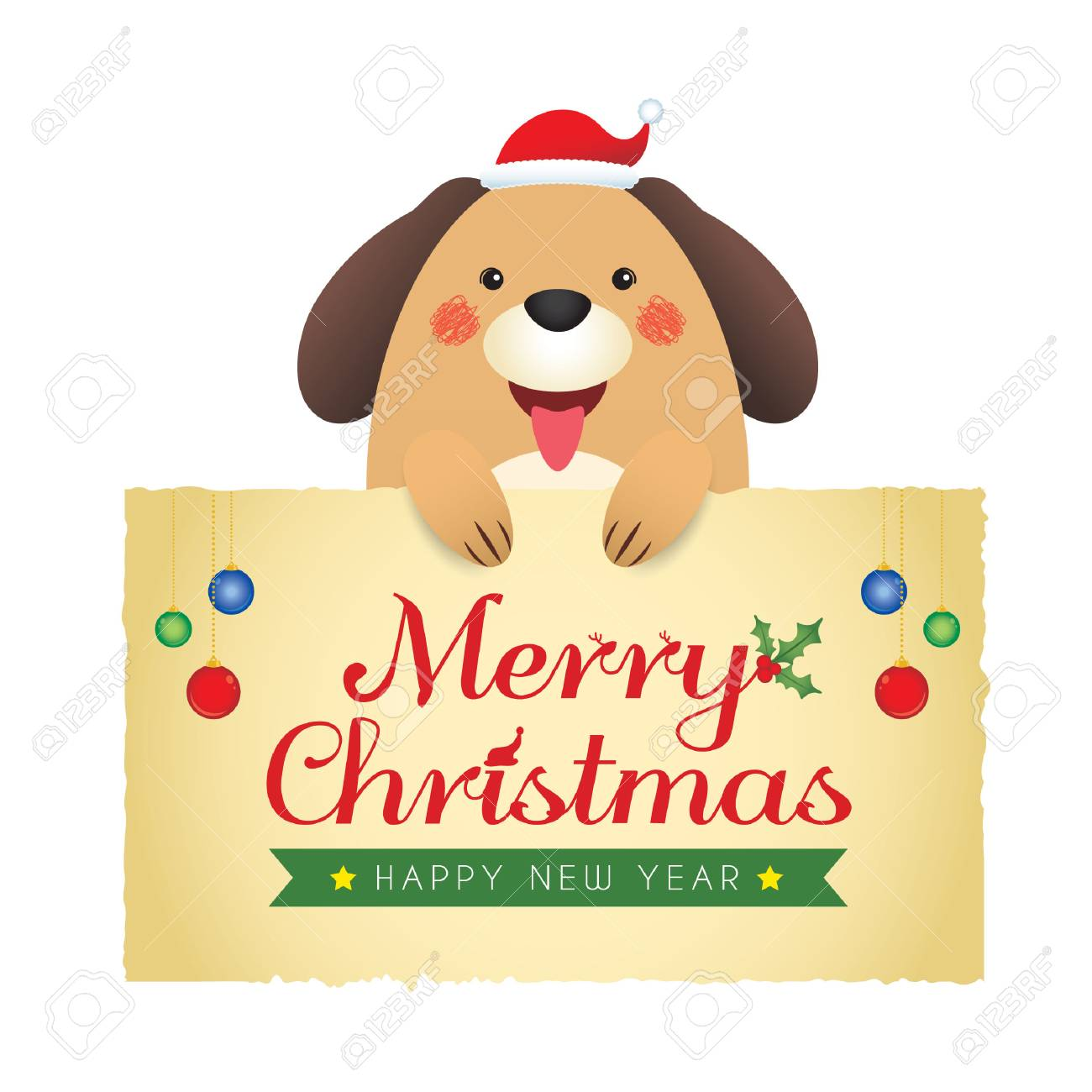 cute cartoon dog holding paper with christmas new year greetings isolated on white background