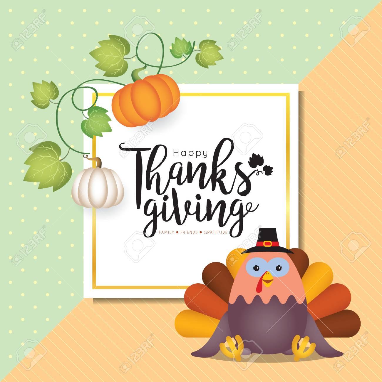 Thanksgiving Template Design Vector Pumpkins Cartoon Turkey