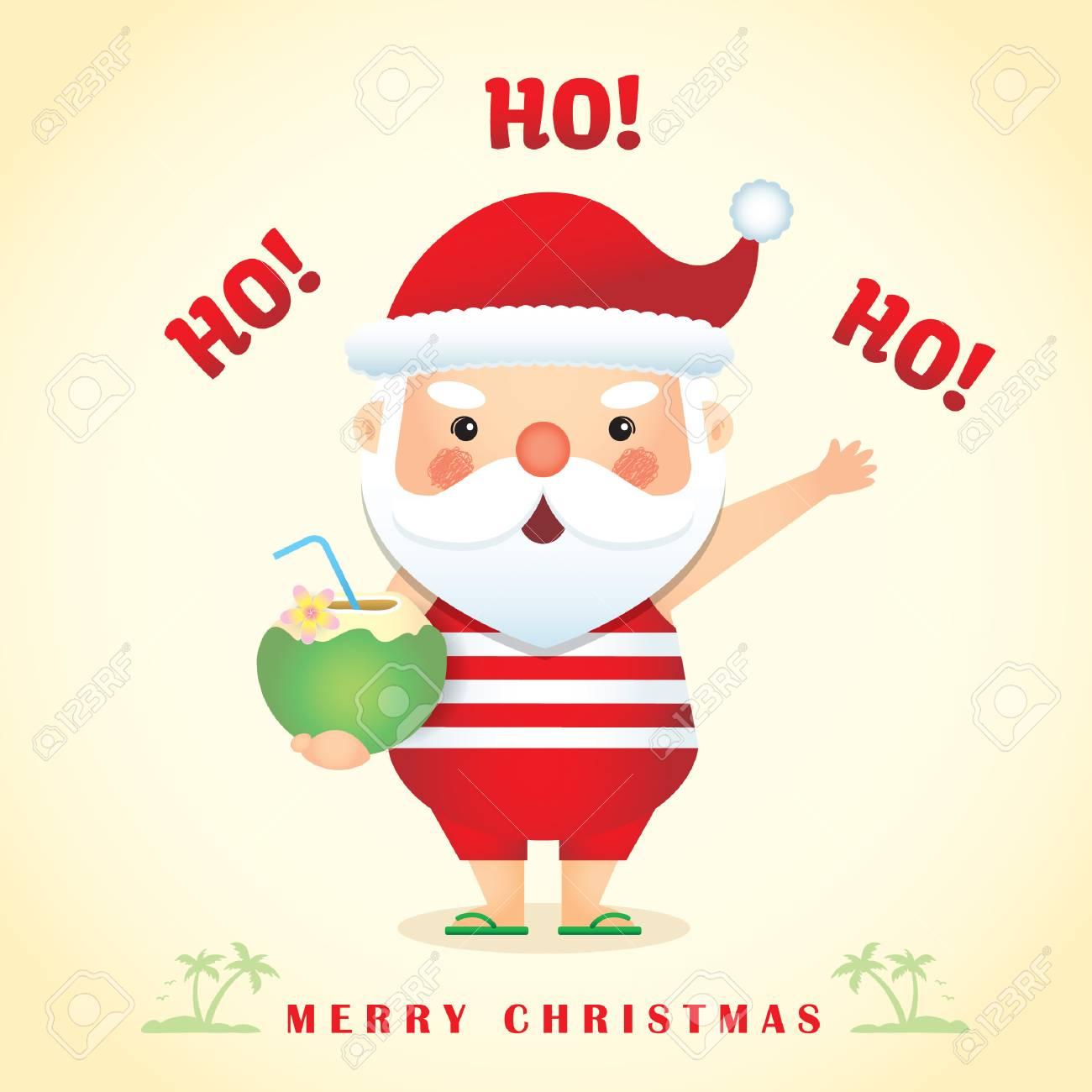 Merry Christmas Greetings With Cute Cartoon Santa Claus Wearing
