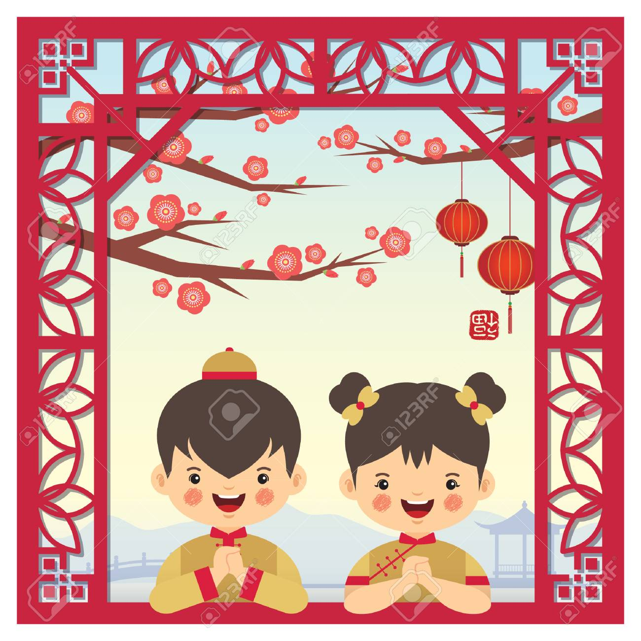 Chinese new year greeting card with cute cartoon chinese boy chinese new year greeting card with cute cartoon chinese boy and girl with chinese vintage frame m4hsunfo