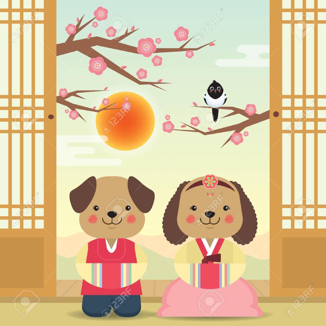 韓国の新年か阴历挨拶テンプレート桜並木とカササギ韓国衣装を着て