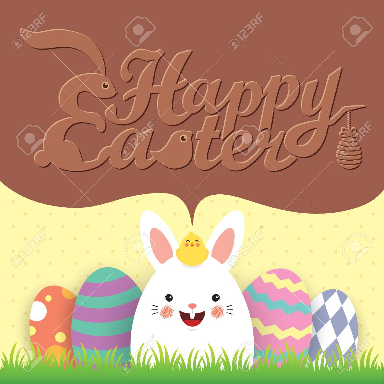 Easter Egg Hunt Invitation Template Design Cute Cartoon Rabbit Baby