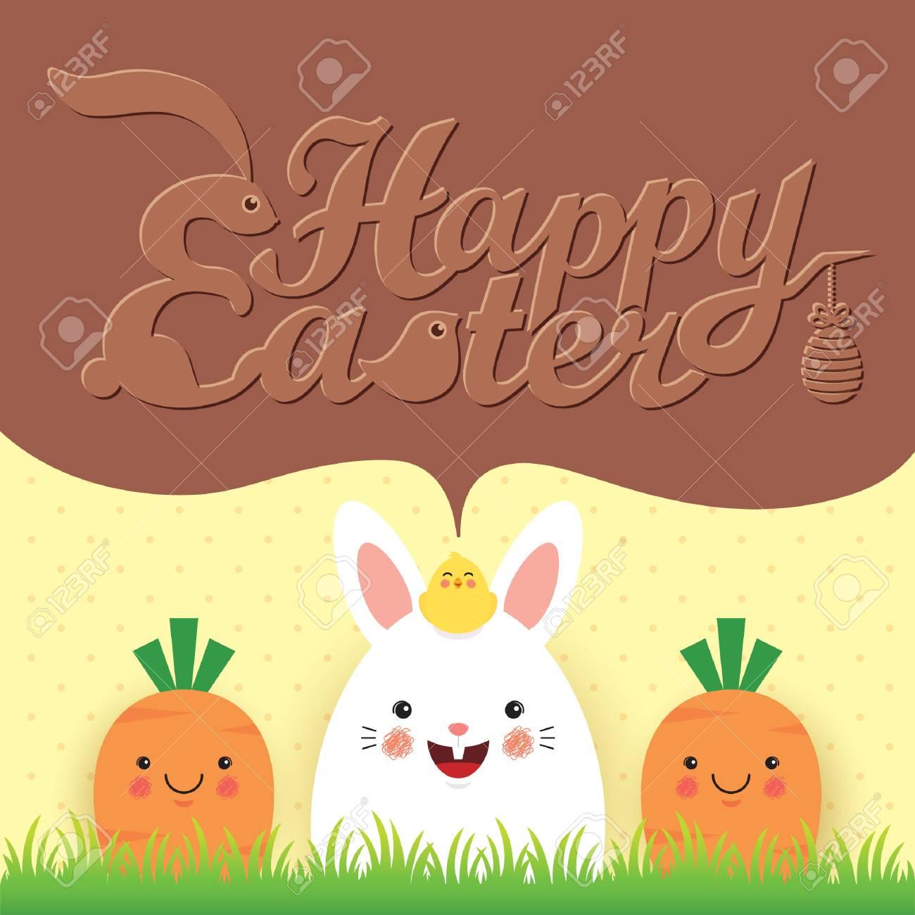 easter greeting card template design cute cartoon rabbit baby