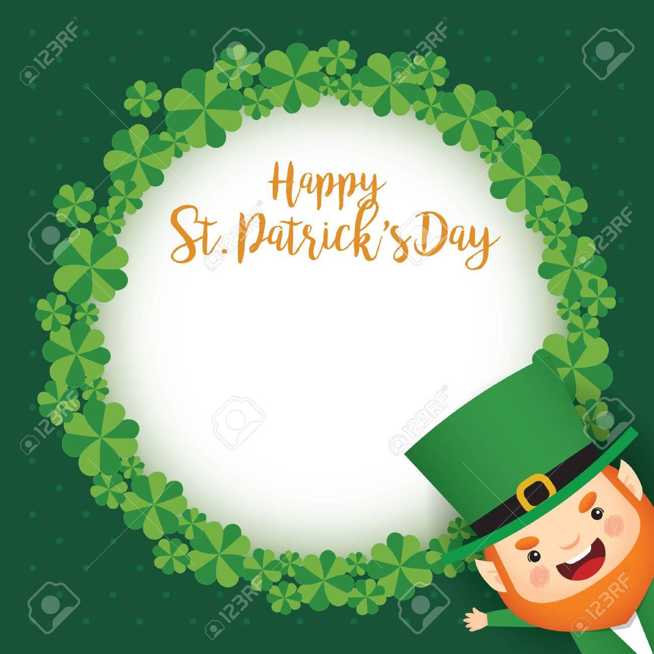 Happy St Patricks Day Greeting Card Template Cute Leprechaun