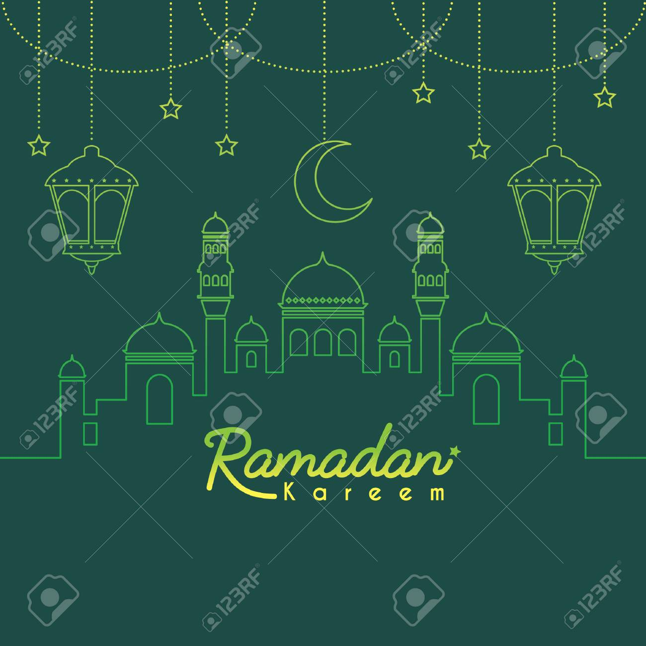 Ramadan Kareem template or copy space  Mosque with crescent moon