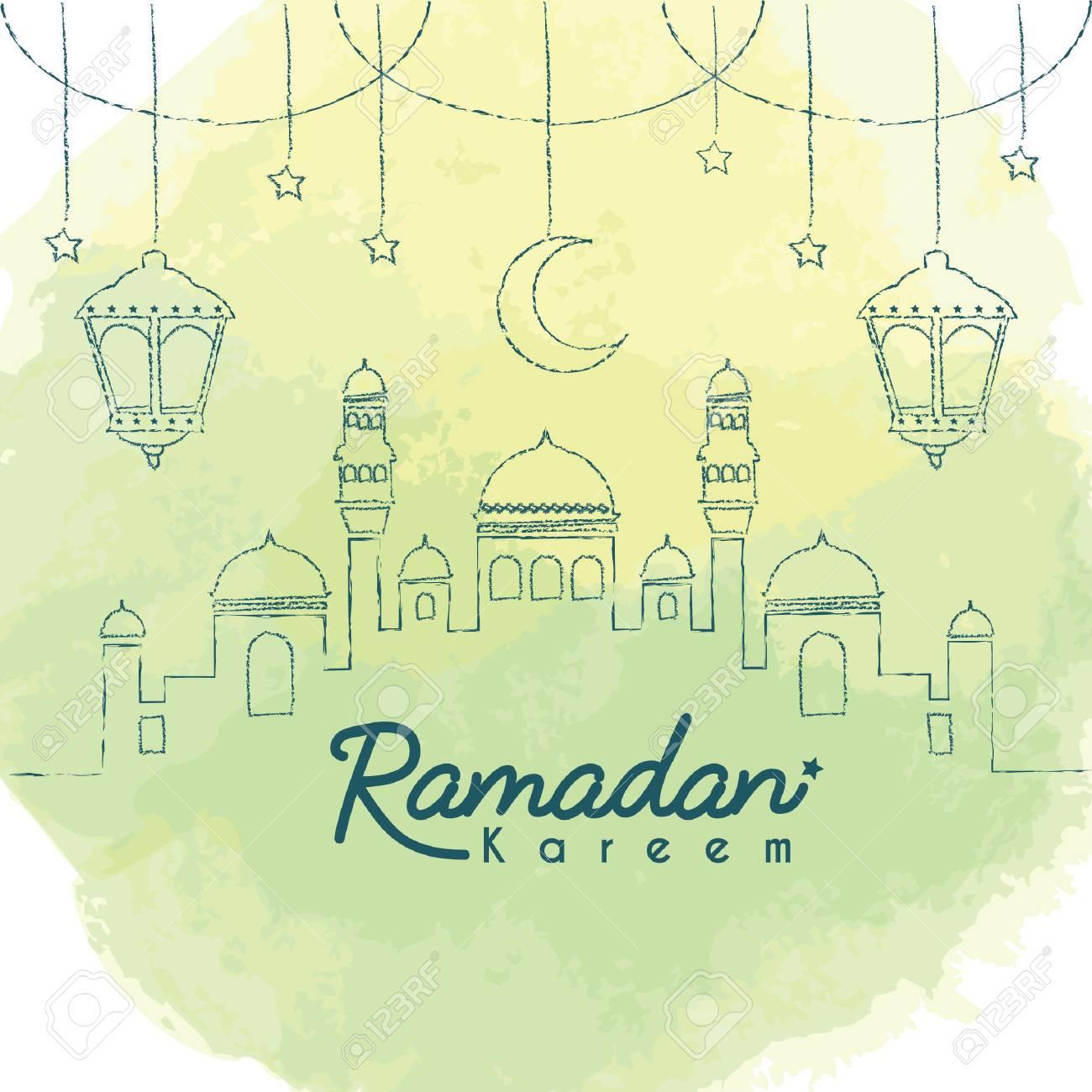 Ramadan Kareem template  Hand drawn mosque with crescent moon