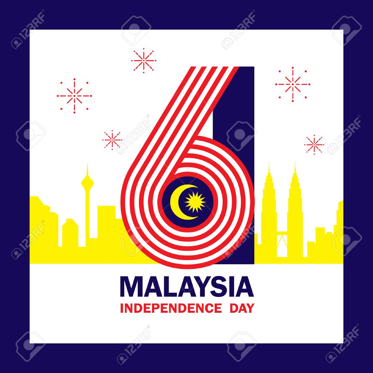 Independence Day.31 August Malaysia Independence Day Illustration With Number