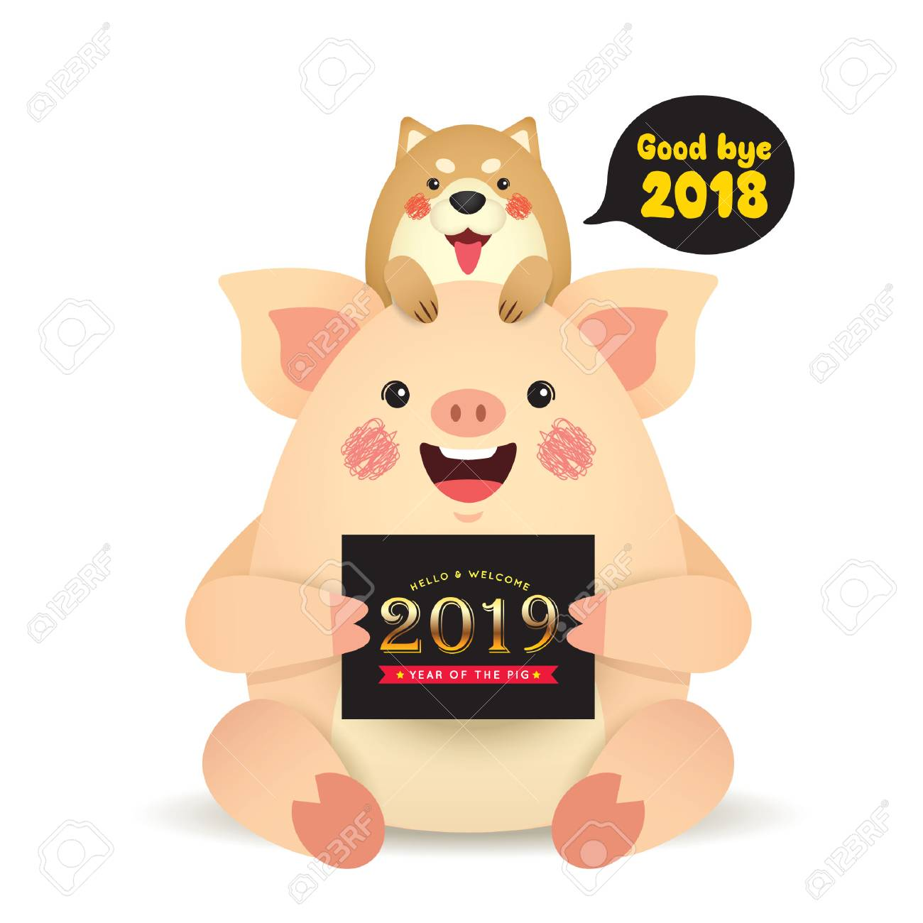 Good bye 2018 and welcome 2019  Cute cartoon dog and pig with