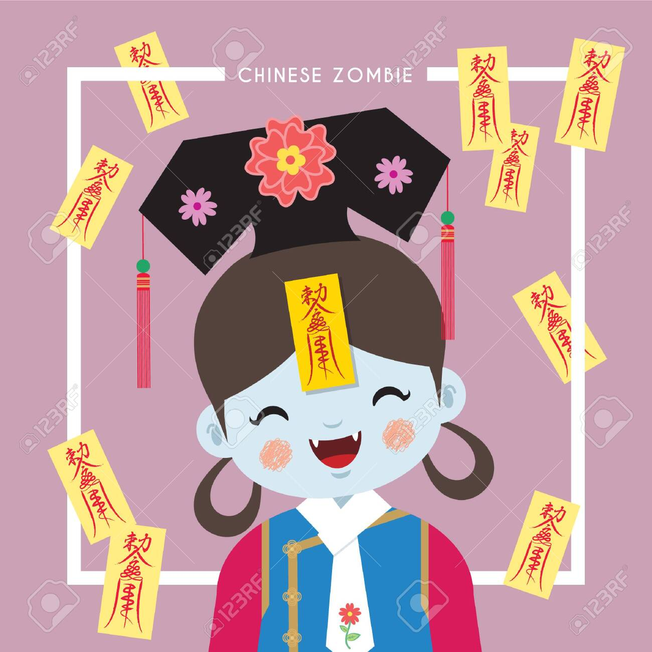 Cute female chinese zombie or vampire in flat vector illustration. Chinese ghost festival cartoon character. - 125055019