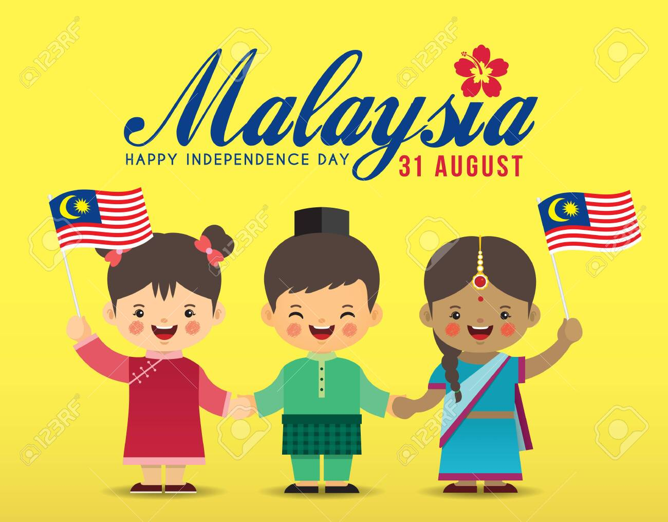 31 August - Malaysia Independence Day illustration. Cute cartoon kids of Malay, Indian & Chinese holding hands together with Malaysia flag in flat vector design. - 128327988
