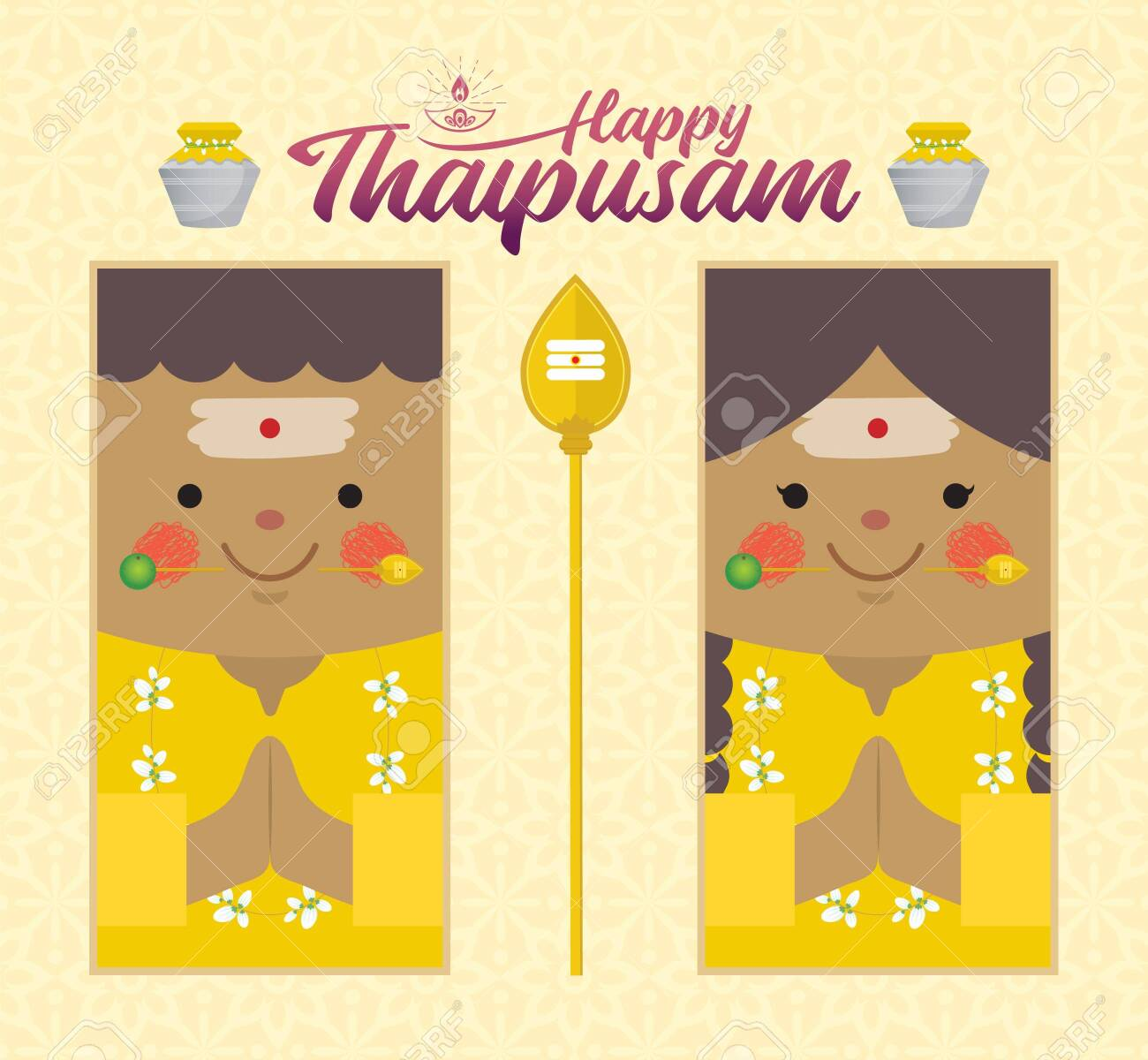 Thaipusam or Thaipoosam - a festival celebrated by the Tamil community. Cartoon Indian prayer with vel spear, paal kudam (milk pot) & diya (oil lamp) in flat design. Hinduism vector illustration. - 139265690
