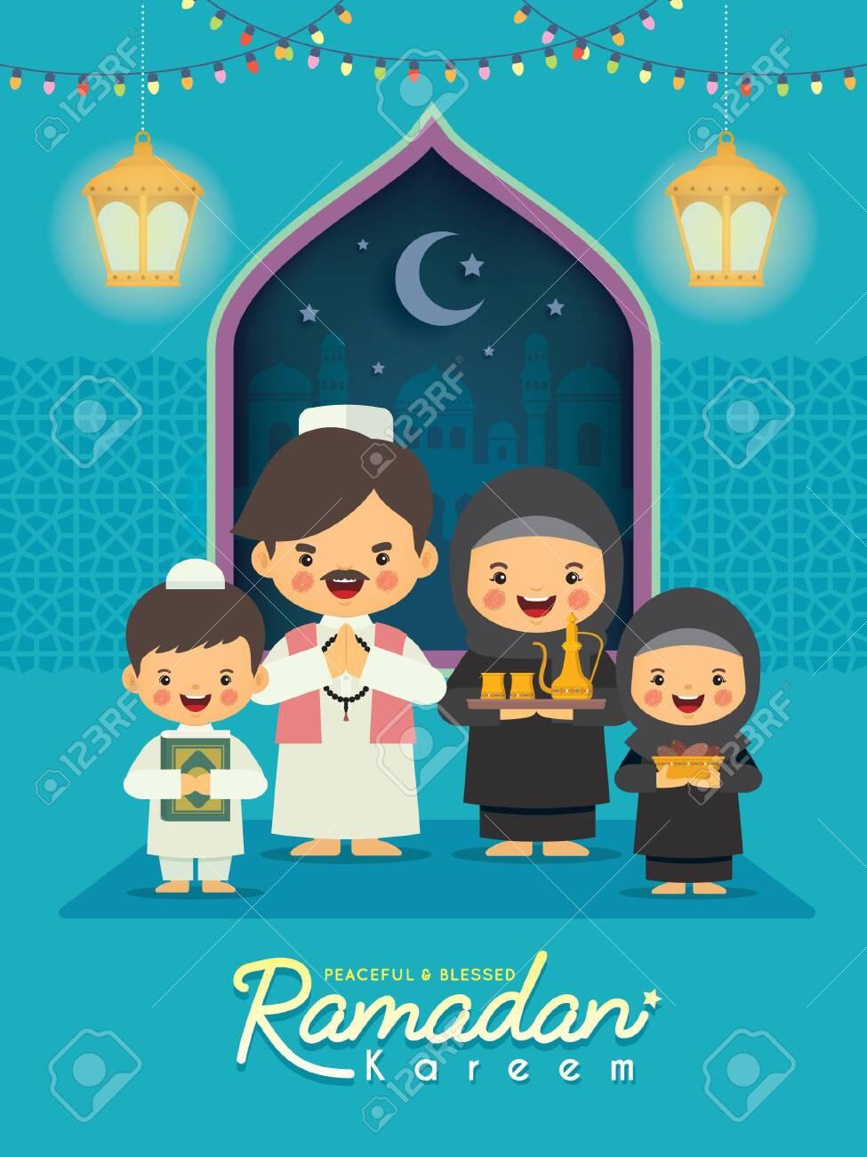 Ramadan Kareem Greeting Illustration. Cartoon Muslim Or Arabian.. Royalty  Free Cliparts, Vectors, And Stock Illustration. Image 145064375.
