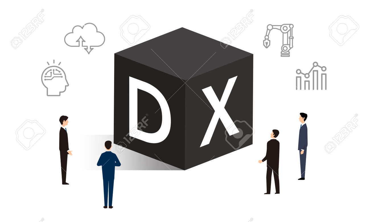 DX and icons, business person illustrations, vector illustrations - 161549256