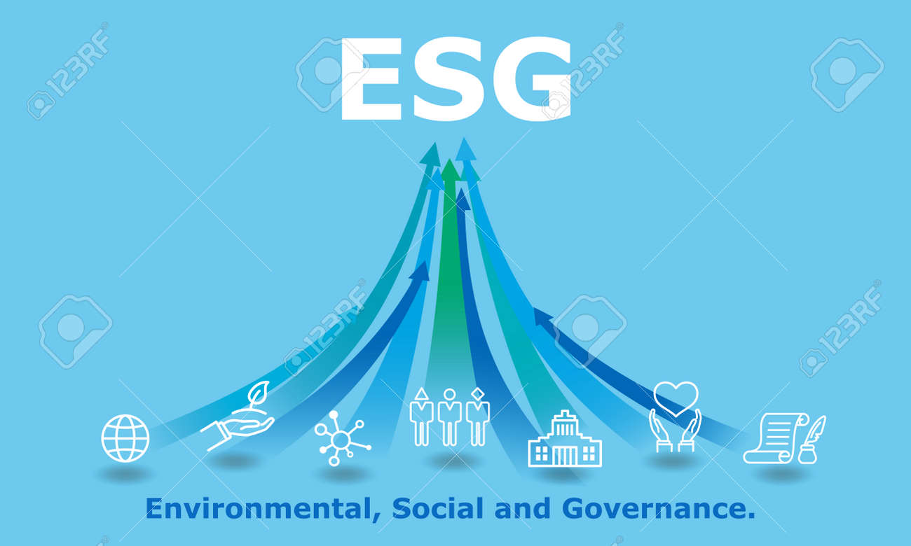 ESG,digital Environmental, Social, and Governance image,icon and rising arrow,blue background - 166610429