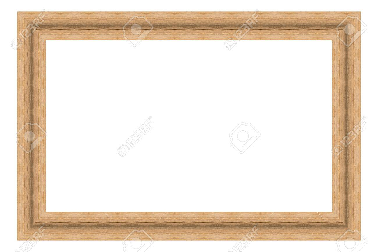 Brown Wooden Frame Isolated On White Background. Contemporary ...