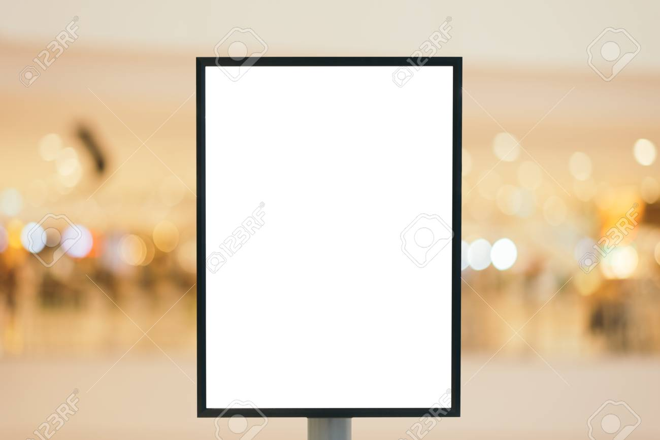 Blank wooden sign with copy space for your text message or content in modern shopping mall. - 54087126