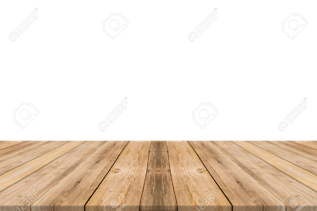 Plain wood table with hipster brick wall background stock photo - Wood Table Perspective Empty Light Wood Table Top Isolate On White Background Leave Space