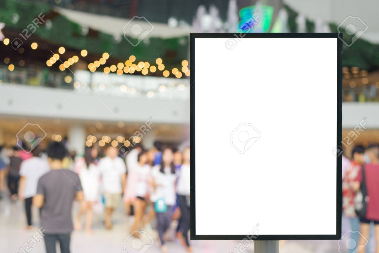 Blank sign with copy space for your text message or content in modern shopping mall. - 55812077