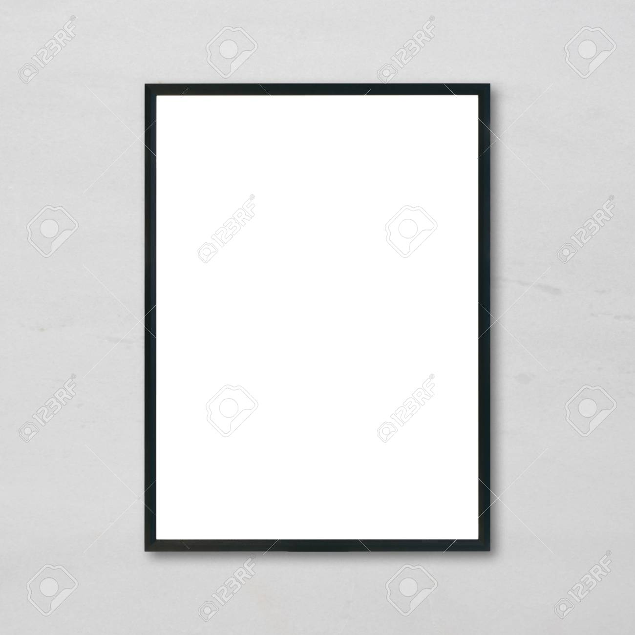 Mock Up Blank Poster Picture Frame Hanging On White Marble Wall Background In Room
