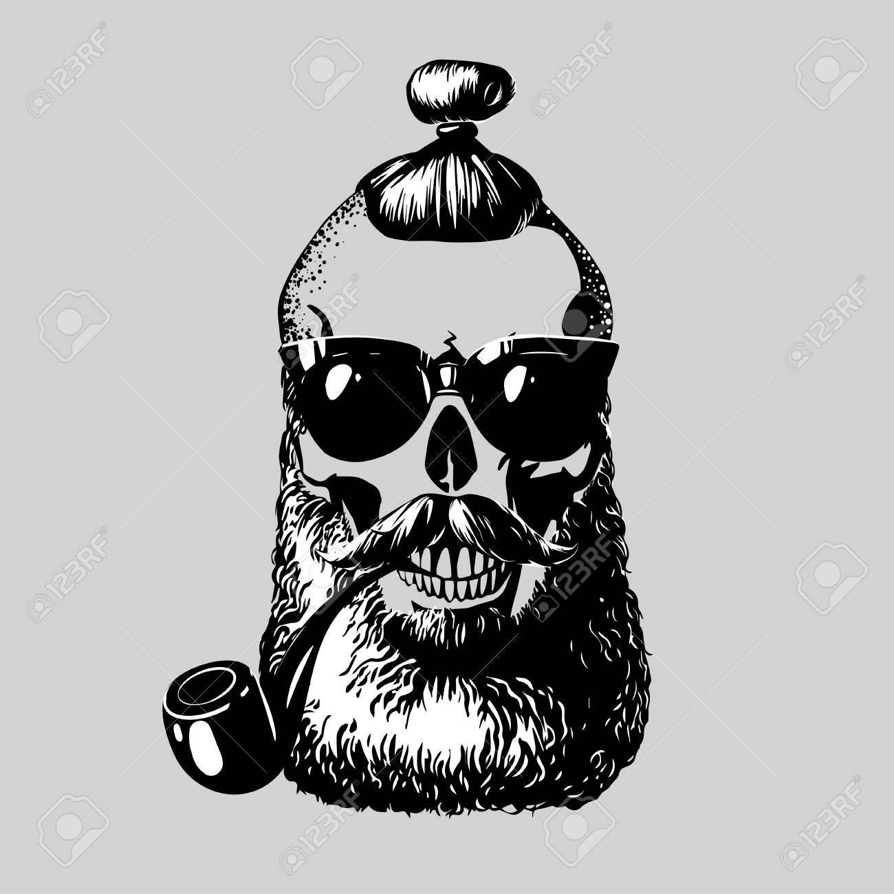 Silhouette de tête irlandais avec la barbe au gingembre et pipe de tabagisme.