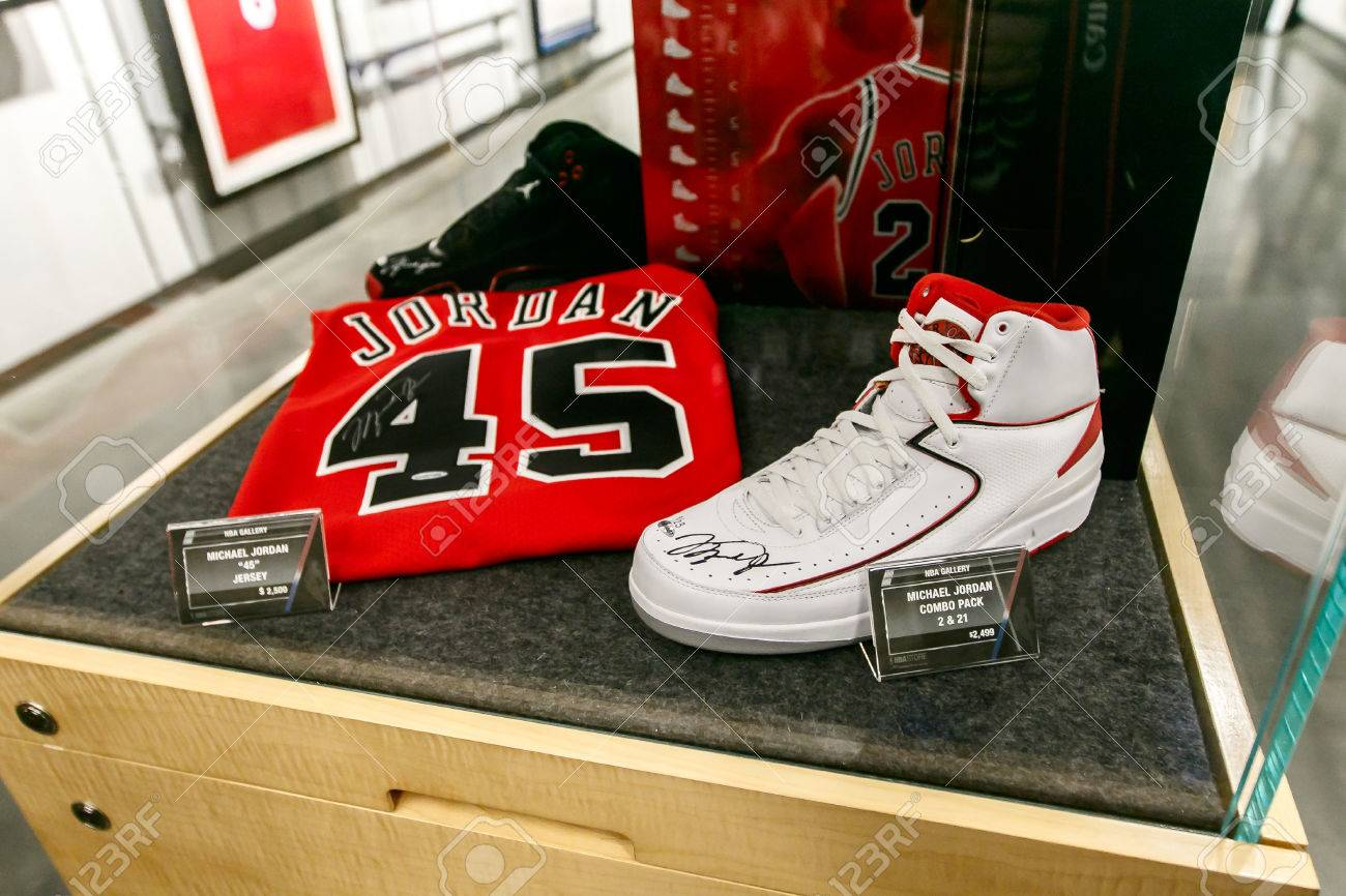 competitive price ce94d 19af1 ... NBA store in Manhattan. New York, February 21, 2017  Michael Jordan  signed commemorative items for sale are