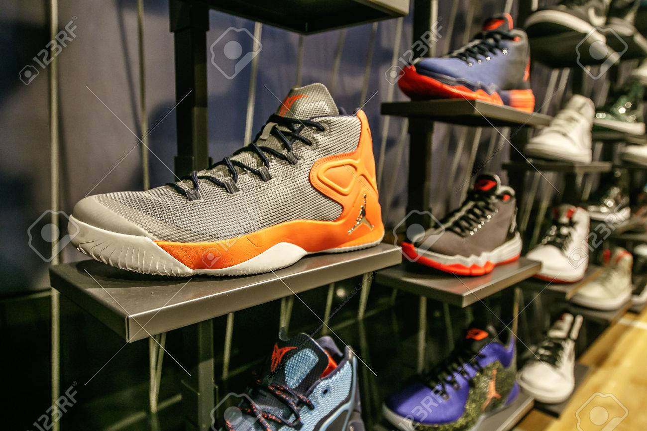 95fab93b New York, February 21, 2017: Assorted Air Jordan basketball shoes for sale  in