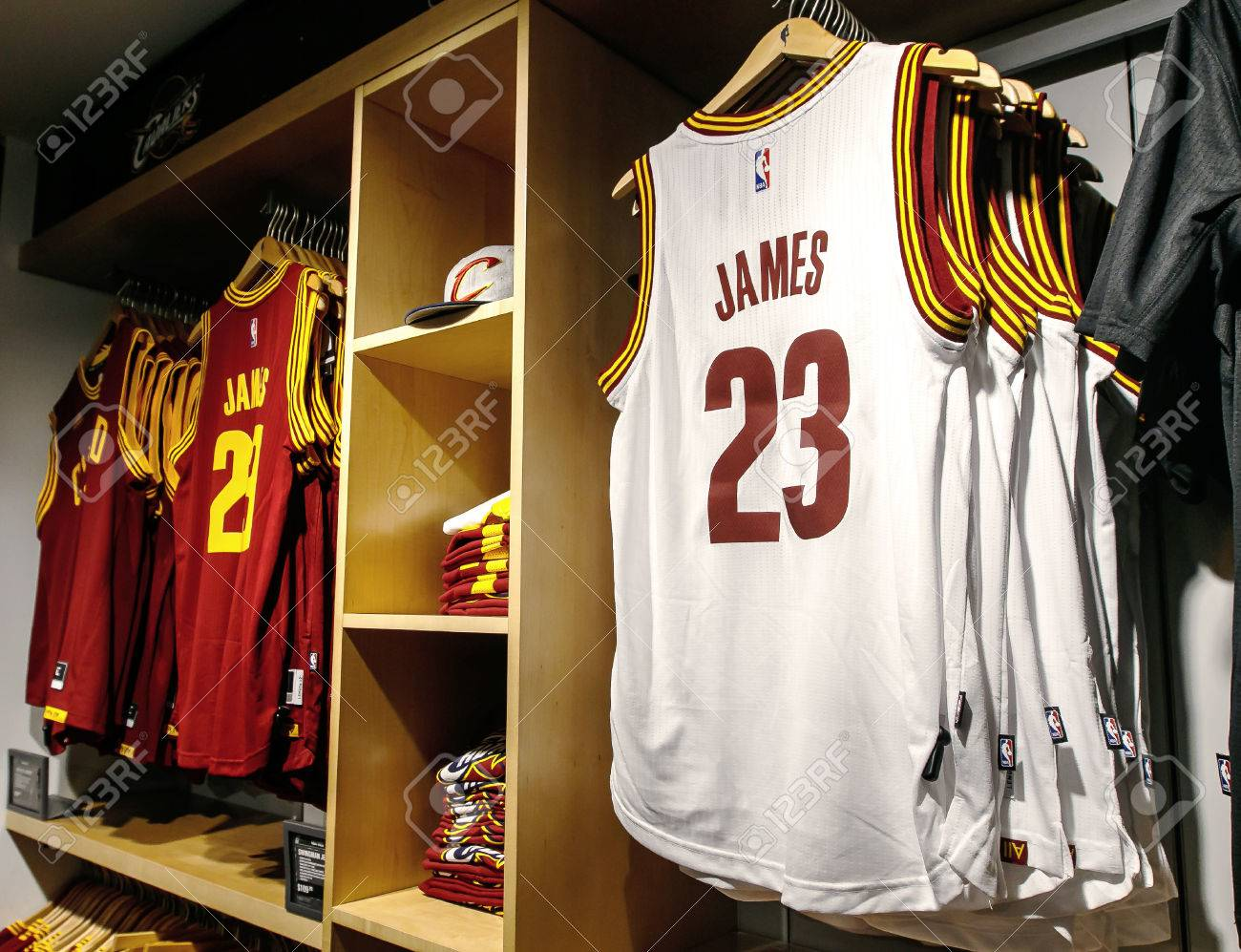 cheap for discount 198e7 a8650 New York, February 21, 2017: Replica jerseys of LeBron James..