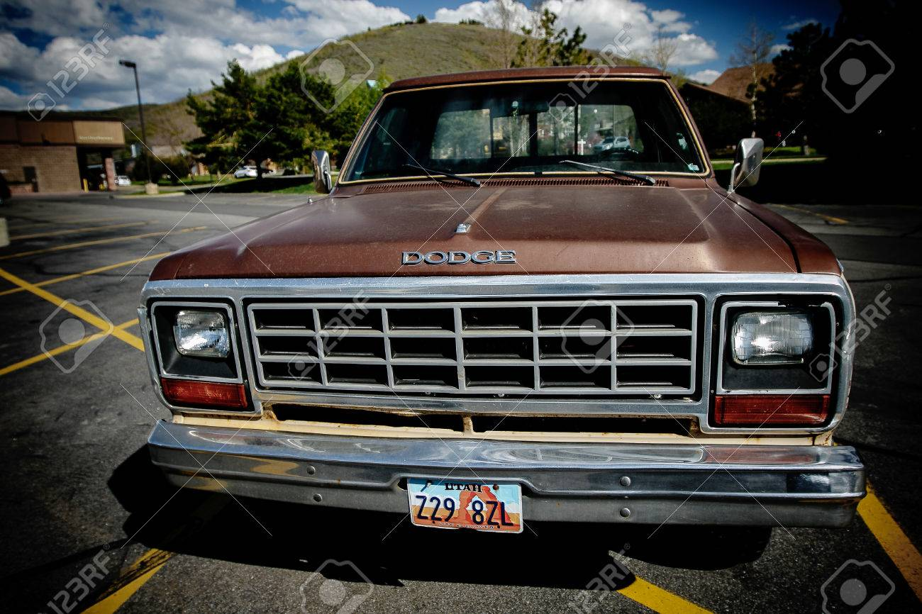 Old Dodge Trucks >> Park City Ut May 12 2017 Old Dodge Truck Is Parked In A Lot