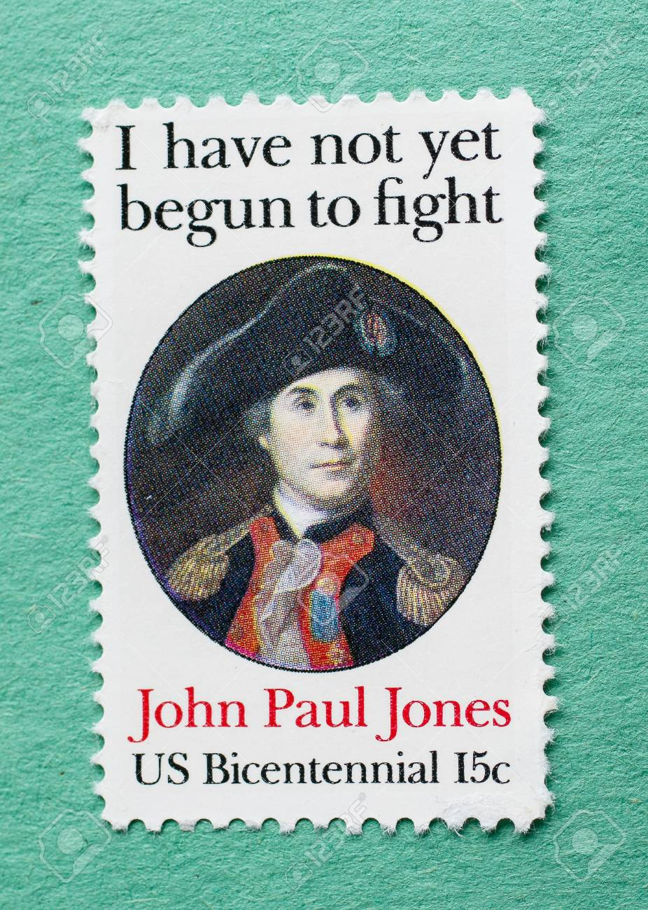 Us Postage Stamp With A Portrait Of John Paul Jones Also Featuring