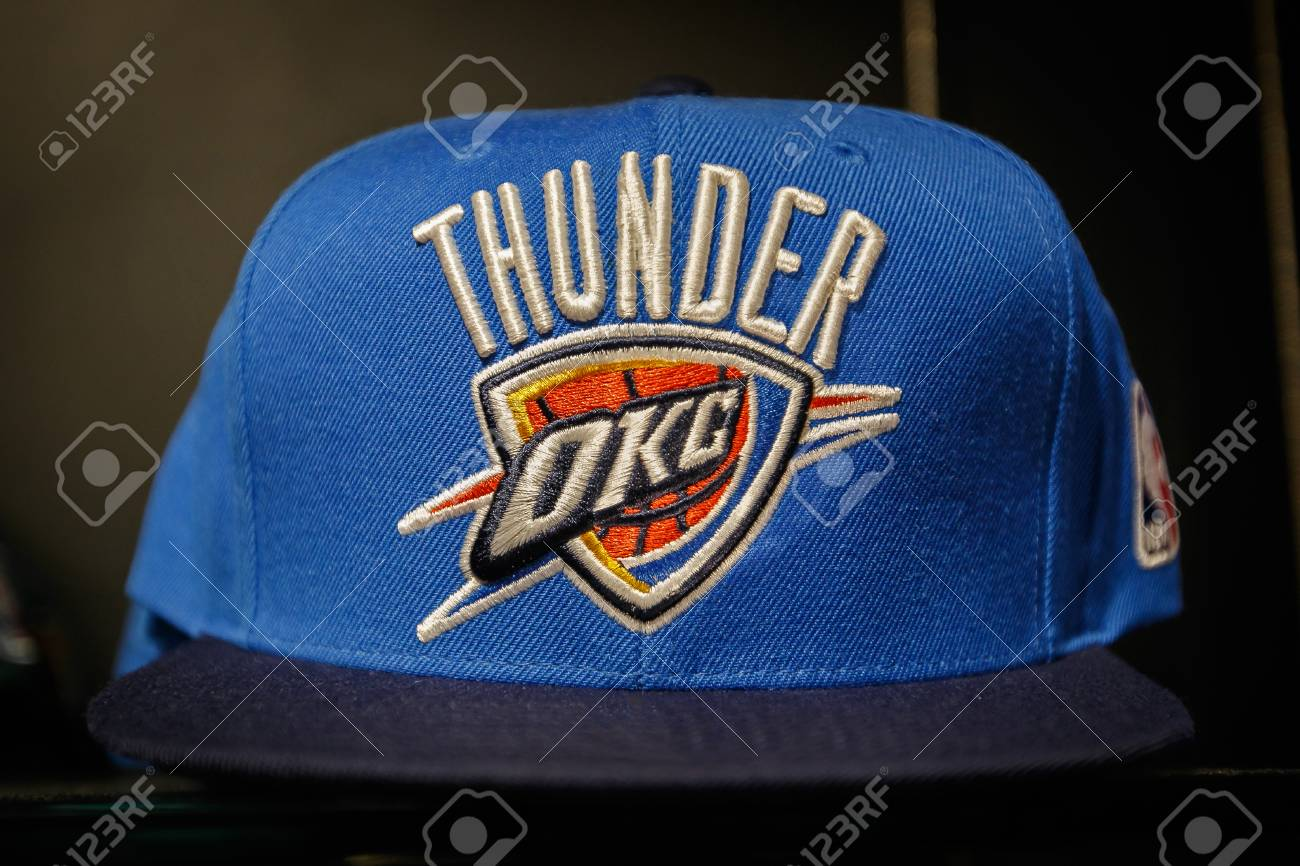 best website 44517 6dd1a New York, October 20, 2017: Oklahoma City Thunder hat on sale..