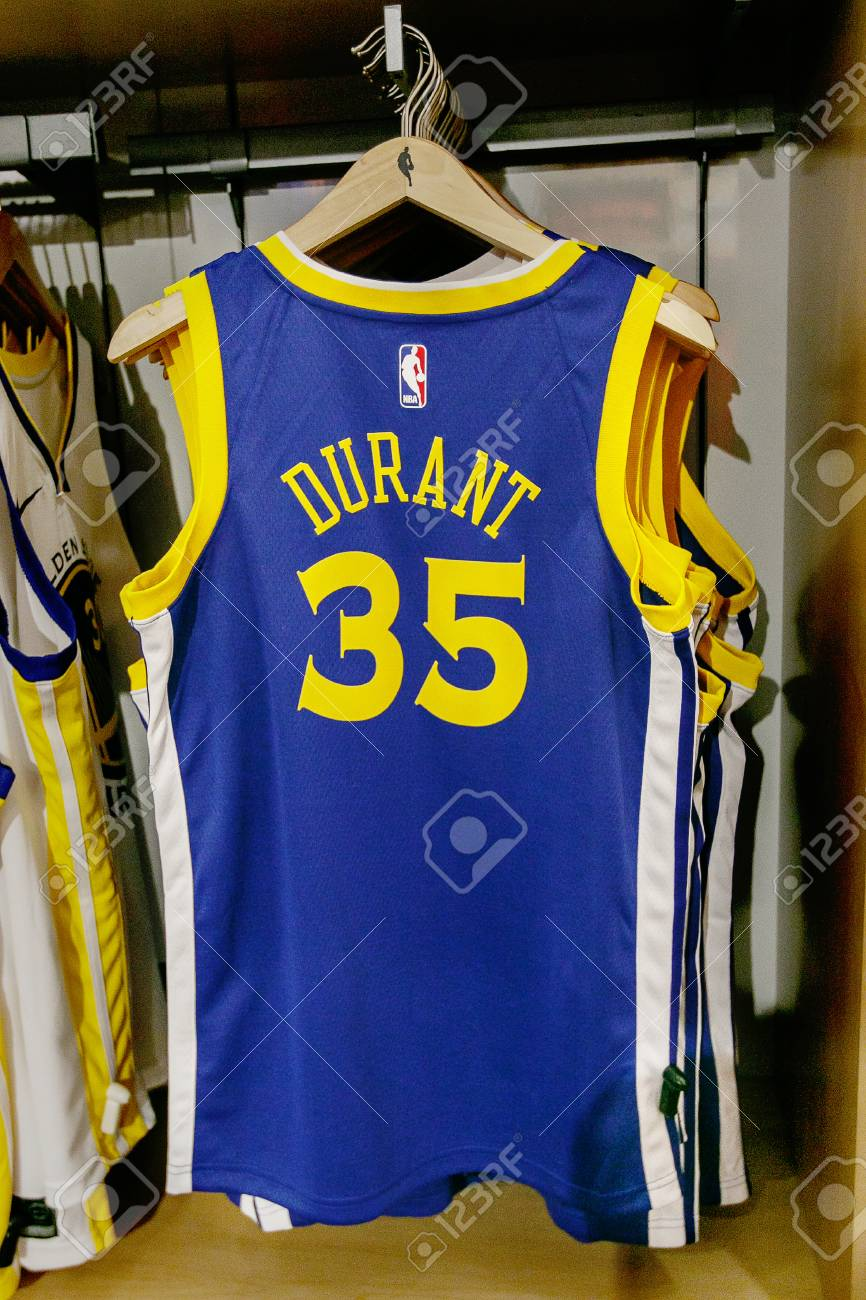 sale retailer ace6c bc984 New York, October 20, 2017: Replica jersey of Kevin Durant of..