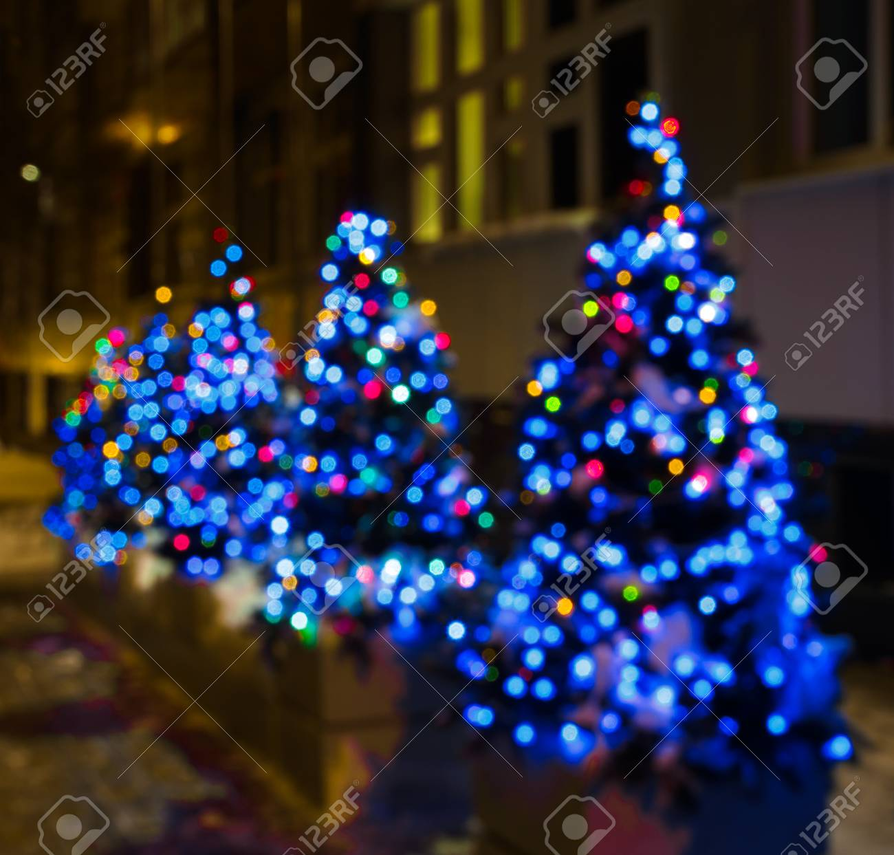 Decorated Christmas Trees With Blue Red Lights Stock Photo Picture And Royalty Free Image Image 89310704